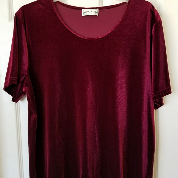 Frazier Lawrence Tops Womens Plus Size Velour Blouse Burgundy 22w